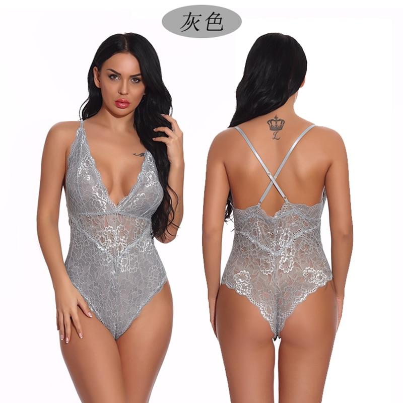 Women Snap Crotch Lingerie Sexy Lace Bodysuit Deep V Teddy One Piece Babydoll  Underwear Plus Size