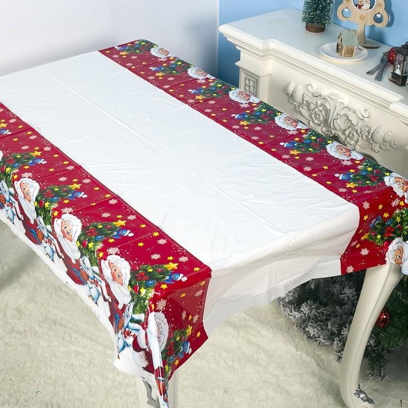 180*110 см Рождественская скатерть Санта Клаус печатная прямоугольная ПВХ скатерть Новогодняя Рождественская вечерняя Скатерть украшения