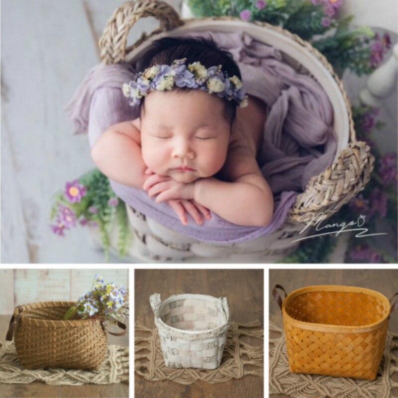 bebe recem nascido tecelagem cesta fotografia prop infantil tiro recipiente estudio