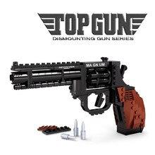300 pièces pistolet militaire Magnum Revolver pistolet puissance arme armée modèle Brinquedos blocs de construction ensembles jouets éducatifs pour les enfants