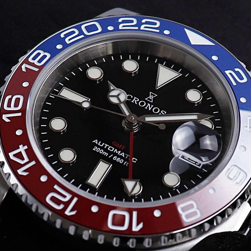 Cronos Men's GMT Watch Sapphire Crystal 40mm Black Dial Full Luminous Ceramic Bezel Automatic Movement Men's Dive Wrist Watch enlarge