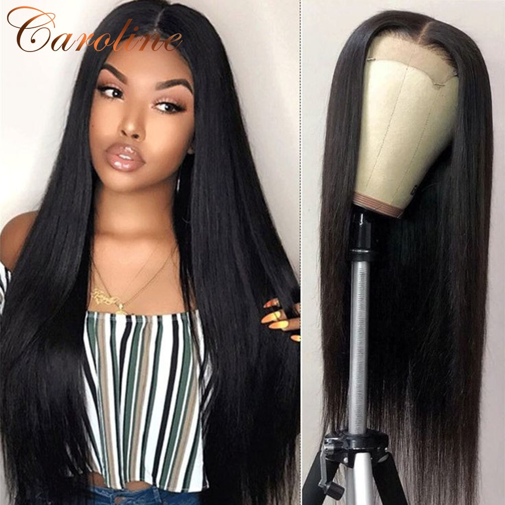 13x4 Straight Lace Front Human Hair Wigs For Black Women 180% Density T Part Transparent Straight wigs Brazilian Hair Remy Hair