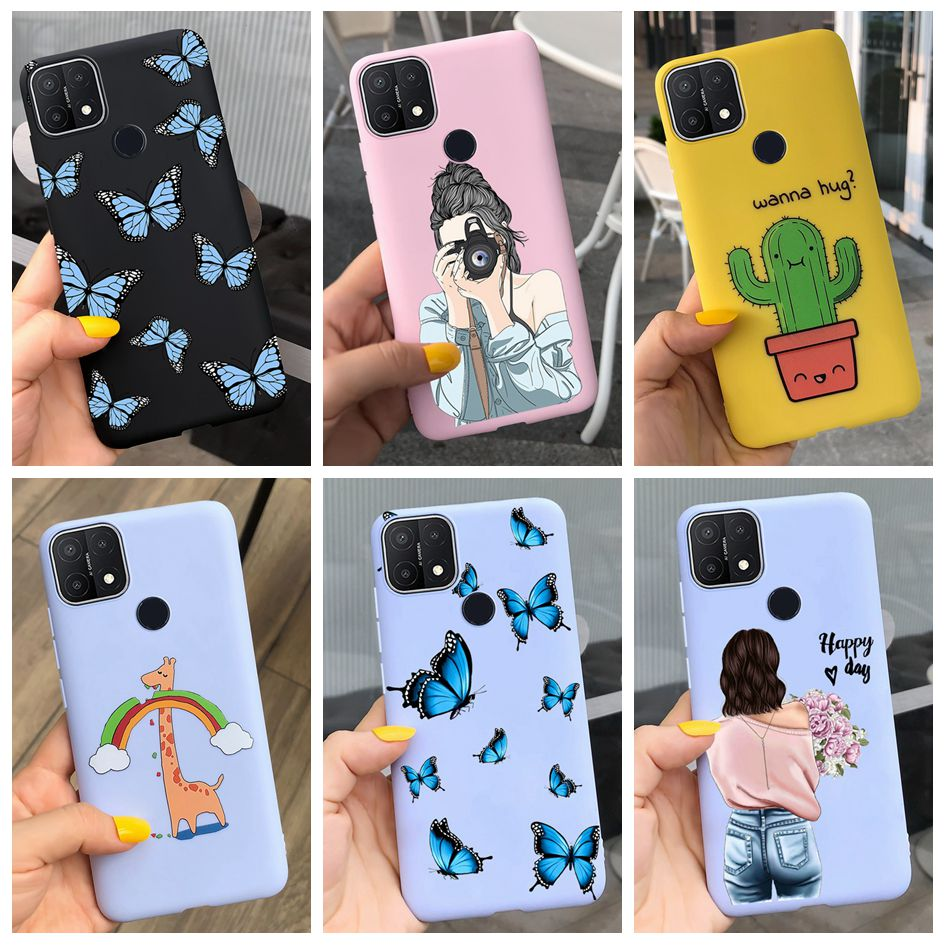 For OPPO A15 Case 2020 New Butterfly Cactus Silicone Soft Back Cover For OPPO A15 Cases OPPOA15 CPH2