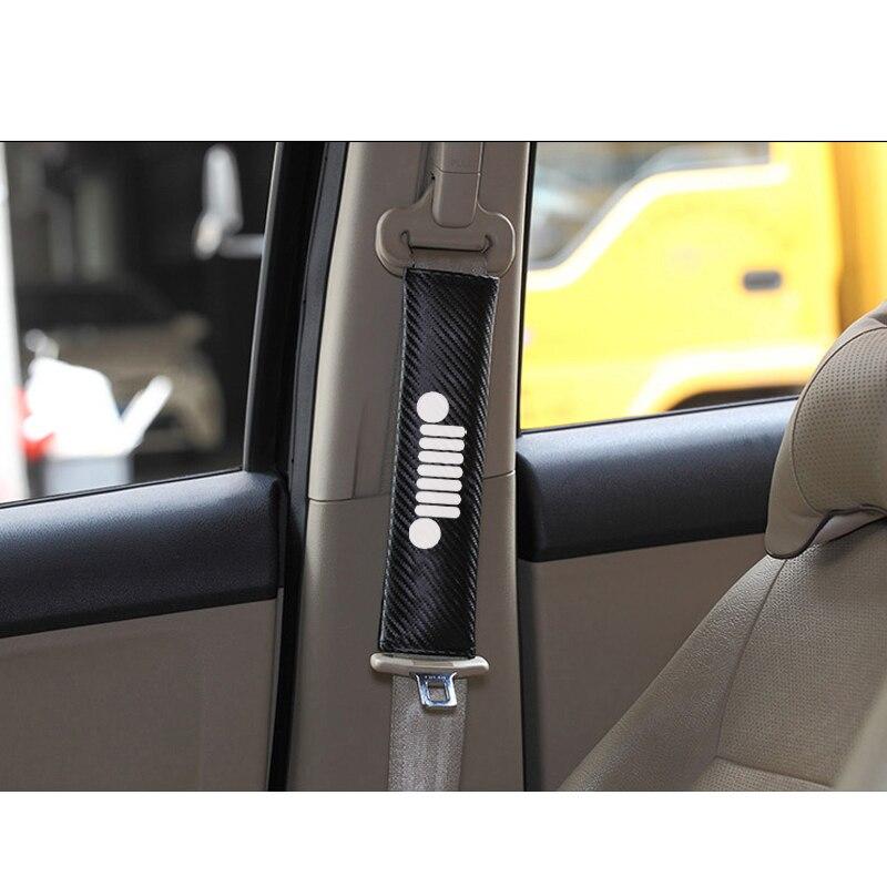 Para Jeep Wrangler compass renegade rubicon Patriot textura de fibra de carbono moda cubierta de cinturón de seguridad de coche cinturón de seguridad hombreras