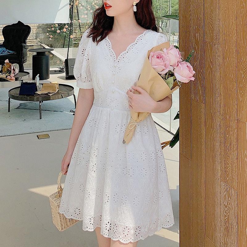 Elegant Basic Mini Dresses 2021 Female Party Kawaii Korean Style Summer Dress Women Casual Puff Sleeve Beach Lace Vintage Dress