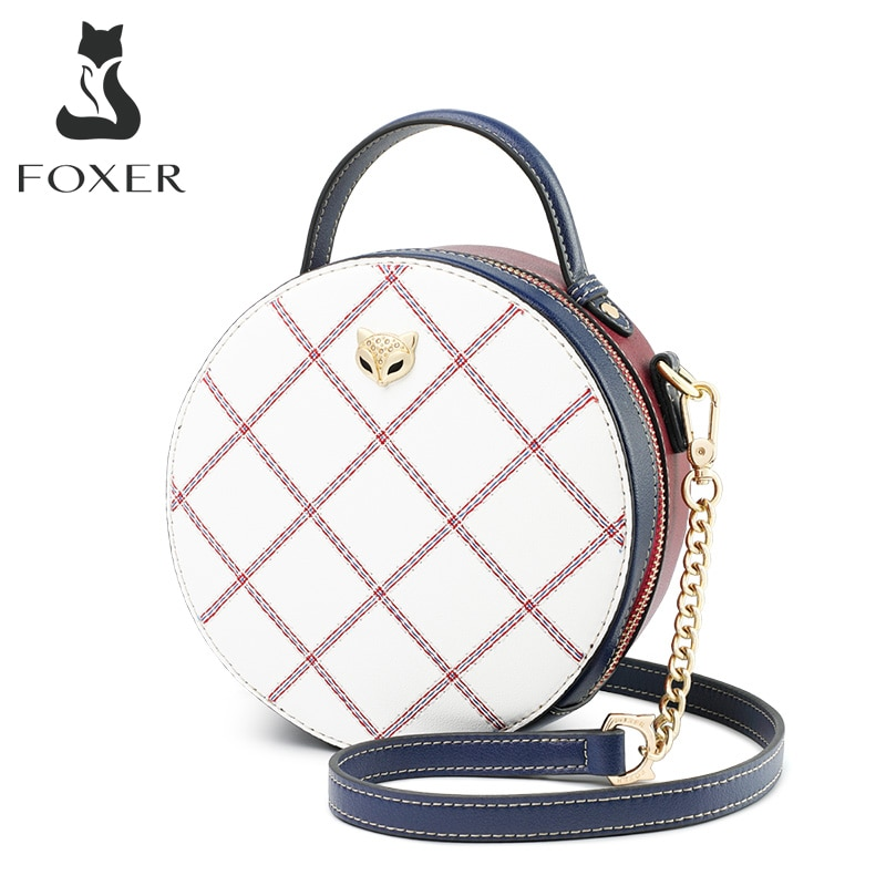 FOXER Mini Round Handbag Lady Split Leather Circular Crossbody Shoulder Bags Female Stylish Cellphone Pocket Women Small Totes