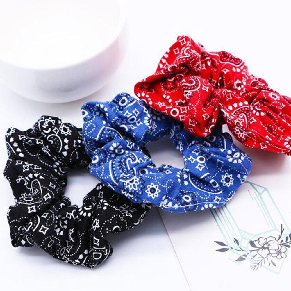 Korean Pineapple Print Hair Accessories Women Hairband Girls Hair Ties Cashew Flowers Hair Scrunchies Ponytail Holder Hair Ring