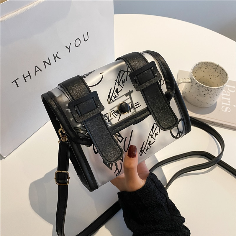 Graffiti Trendy Small Square Bag 2021 New Summer Simple Transparent Jelly Shoulder Bag Fashion Clear Crossbody Bags for Women