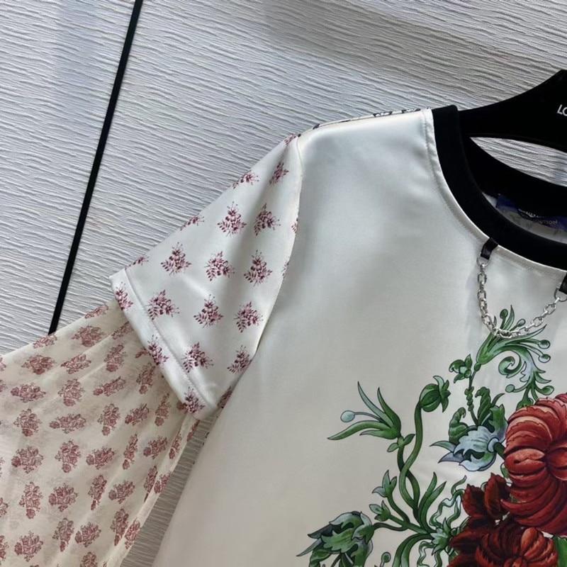 2021 New White High Quality Flower Print Decoration Elegant Temperament Women's Long-Sleeved Shirt T-Shirt Party Club Streetwear enlarge