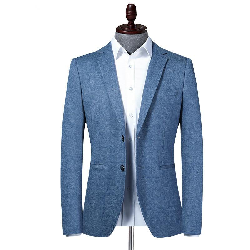 Мужской Блейзер, Новый Мужской приталенный пиджак с отложным воротником, деловой стиль, модный офисный мужской пиджак