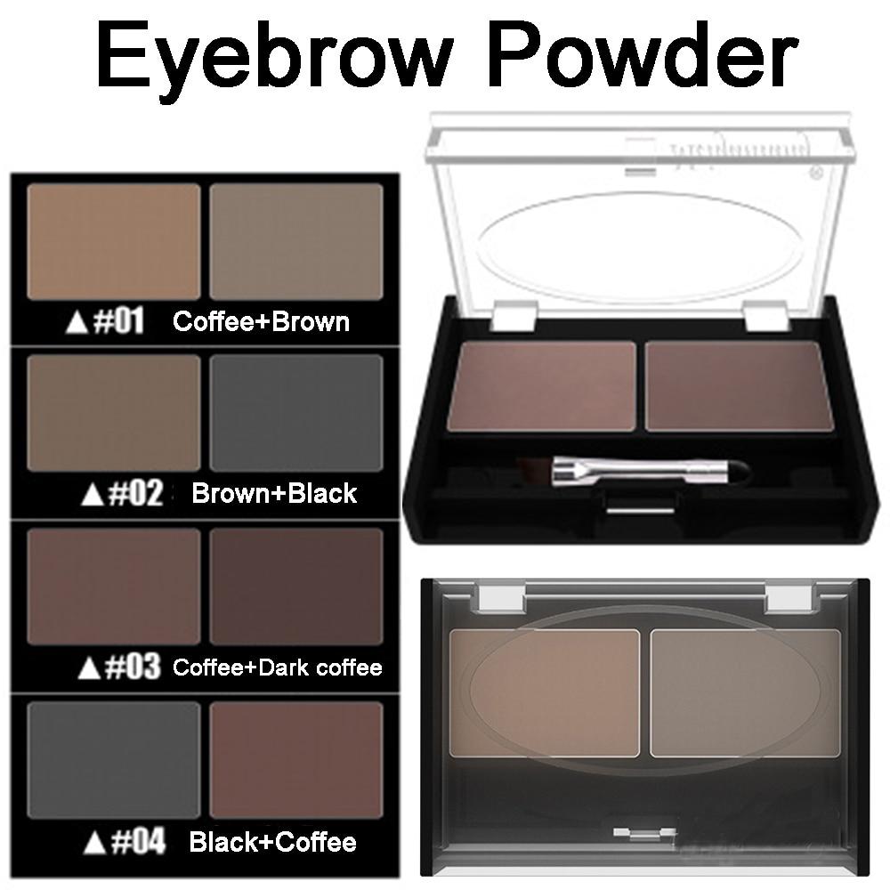 Для девушек, женщин, тени для век, инструменты для макияжа, 2 цвета, водостойкая пудра для бровей, тени для век, палитра для бровей + кисть для увеличения бровей
