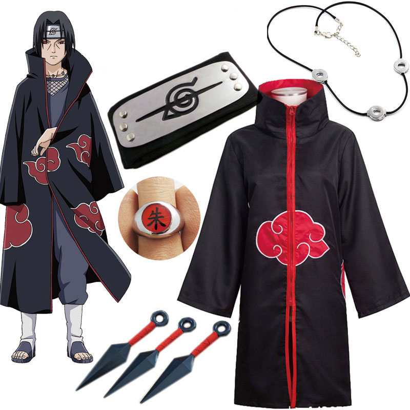 Naruto Cosplay Costume Akatsuki Cloak Uchiha Itachi Sharingan Headband Necklace Ring Kunai Pain Hall