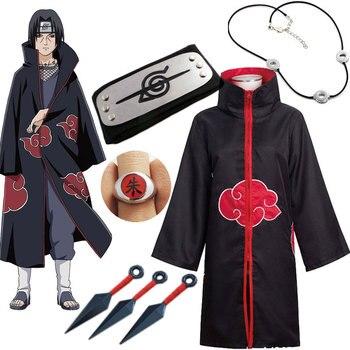Naruto Cosplay Costume Akatsuki manteau Uchiha Itachi Sharingan bandeau collier anneau Kunai Pain Halloween Costume pour hommes enfants