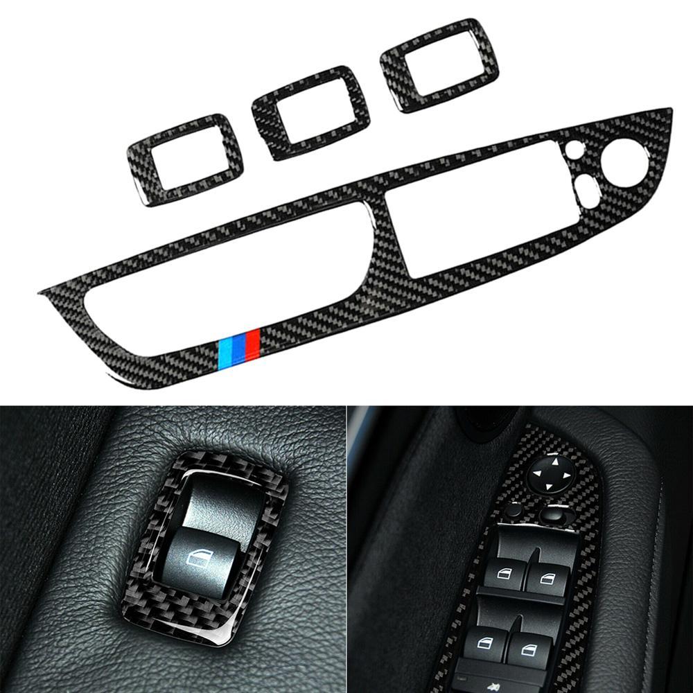 Car Carbon Fiber Door Window Panel Button Frame Cover Trim For BMW X5 E70 X6 E71 Car-Styling Accessories