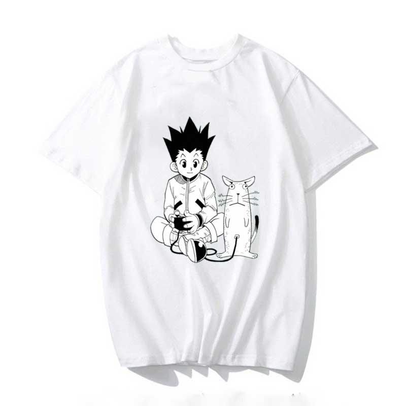 Забавная футболка Hunter X Hunter, Мужская футболка, милые летние топы, Мультяшные футболки с рисунком карате, футболка унисекс в стиле Харадзюку, ...