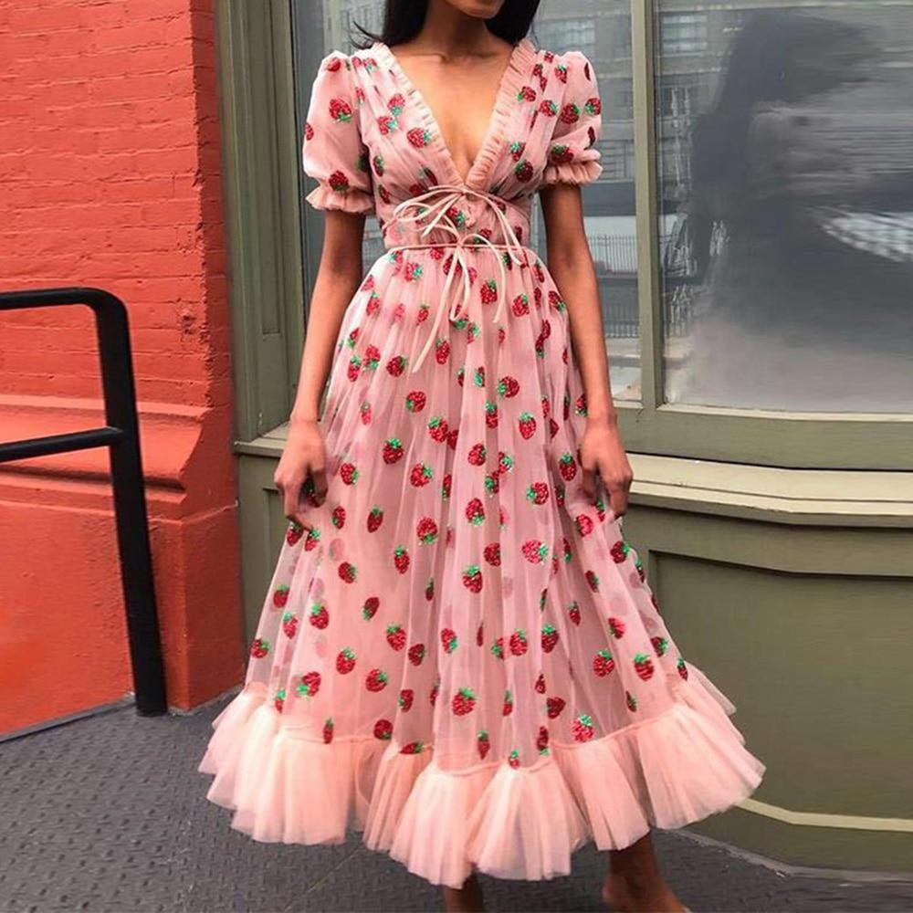 Women Sweet Dress Female V Neck Short Puff Sleeve Dress Femme Pink Sequined Long Maxi Tulle Casual Dress