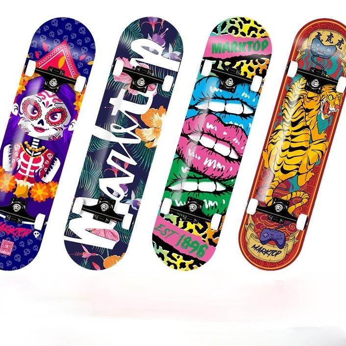 Adolescent Skateboard Profesional Wooden Double Rocker Skateboard Smooth for Adult Planche De Skate Sports Entertainment EI50SA