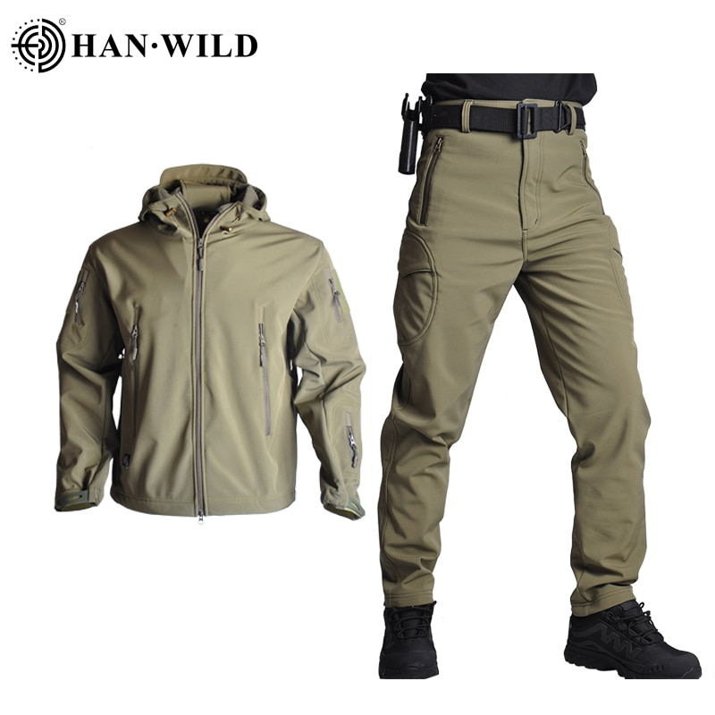 Hunting Jacket Airsoft Army Waterproof Tactical Jackets Men Soft Shell Camo Hunting Clothes Suit Shark Skin Military Coats+Pants outdoor m65 tactical airsoft jacket suits camouflage jacket set men army hunting jackets military waterproof jacket windbreaker