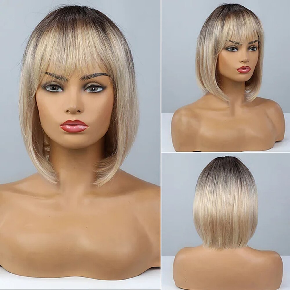Human Hair costume Wig Short Bob Free Part style Brazilian Hair Short Straight Silky Straight blonde ombre Costume Wig