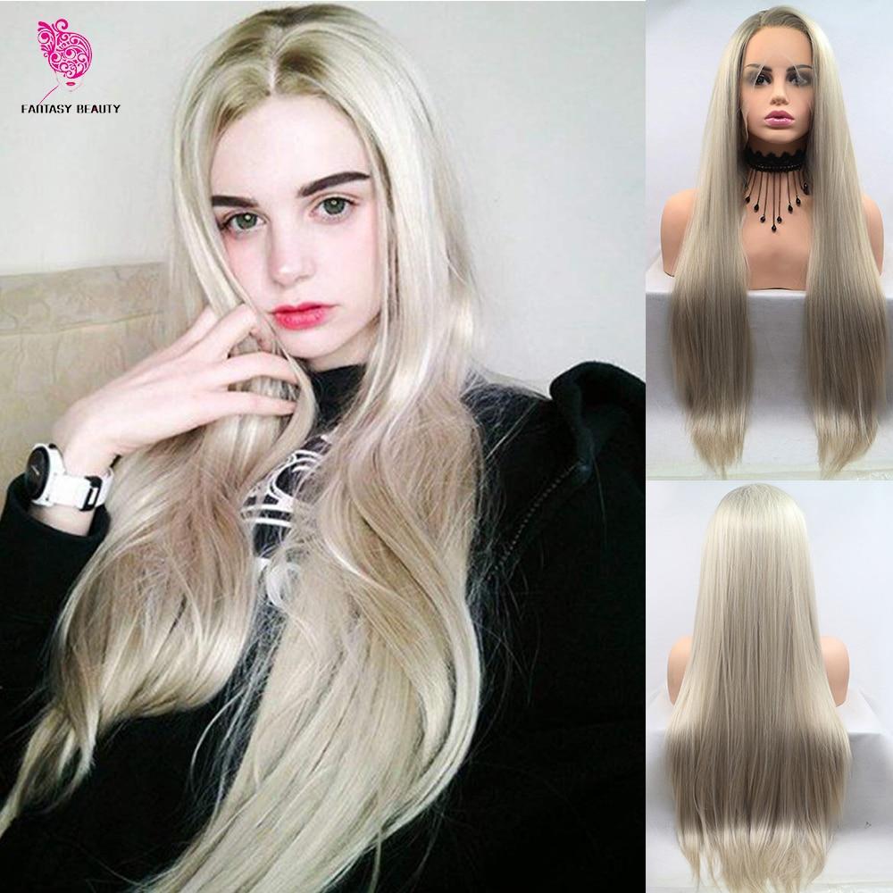 Perruque Lace Front wig synthétique sans colle Blonde   Beauté fantaisie, racines foncées, lisses et longues, avec raie de côté, pour femmes