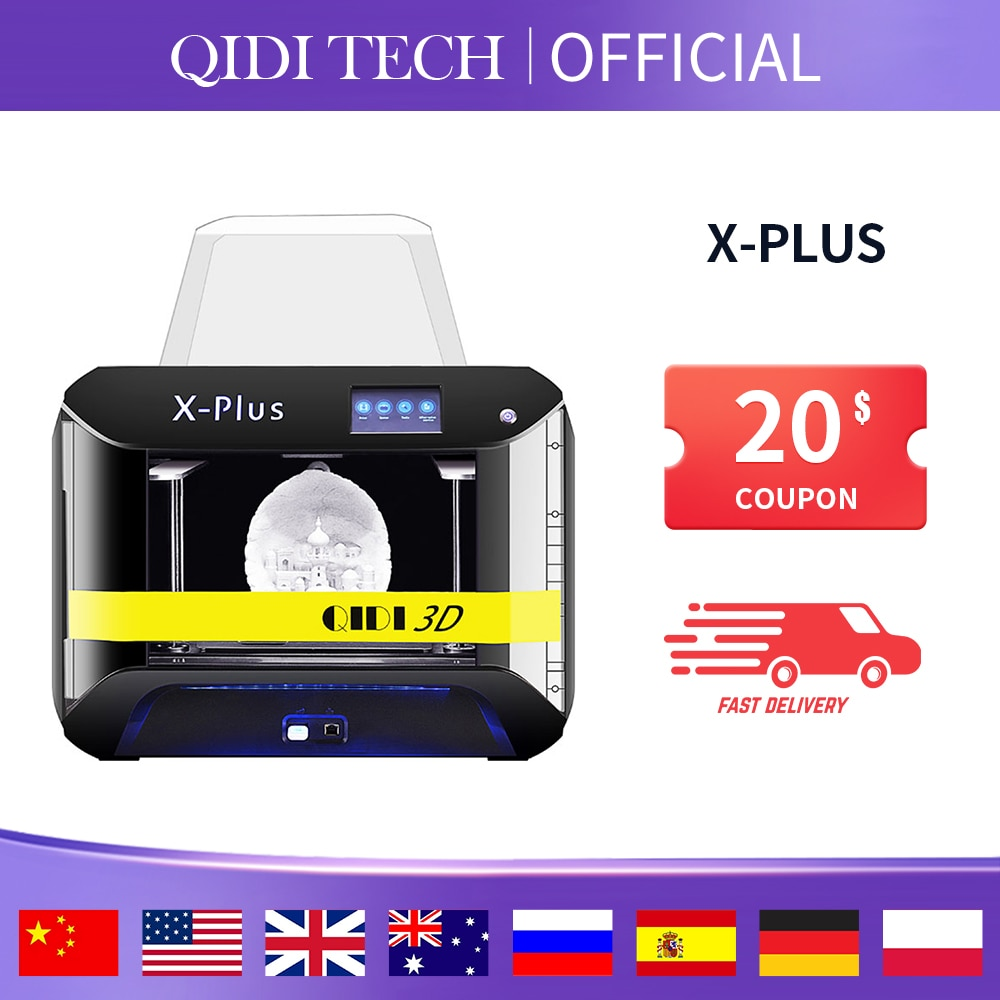 QIDI TECH-طابعة ثلاثية الأبعاد X-Plus ، حجم كبير ، ذكية ، من الدرجة الصناعية ، وظيفة WiFi ، طباعة عالية الدقة ، واقي للوجه