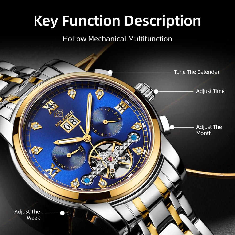 Marca de Moda Relógio de Pulso Reloj Relógio Mecânico Masculino Luxo Aço Cinto Calendário Relógios Automáticos 2021 Designer Men