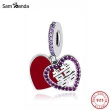 Original 100% 925 argent Sterling perle breloque Double bonheur coeur pendentif chinois breloques ajustement Pandora Bracelets femmes bijoux