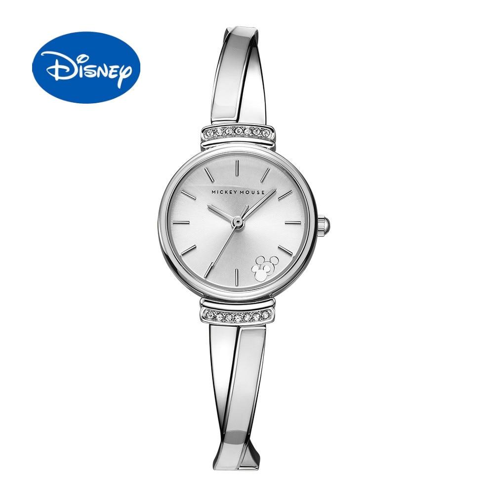 Senhoras Relógio Original Da Disney Mickey Estilo Pulseira Pulseira Estilo Relógio de Diamante Moda Relógio das Mulheres À Prova D Água