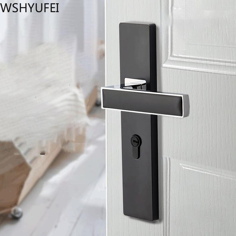 WSHYUFEI الحد الأدنى نمط قفل باب داخلي مع مفتاح غرفة نوم عالية الجودة باب من سبائك الزنك قفل صامت مكافحة سرقة الأجهزة