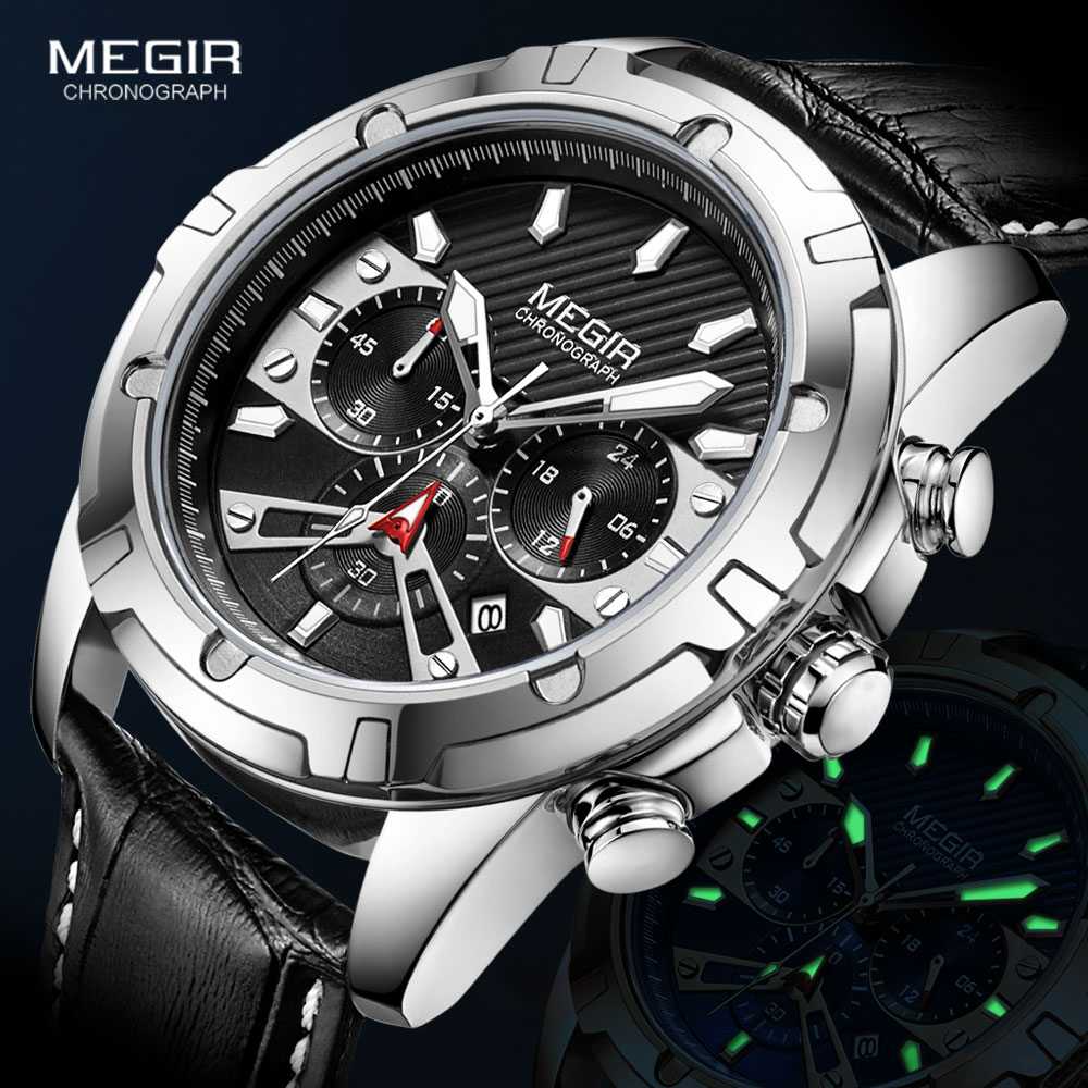 MEGIR ساعة الرجال حزام من الجلد ساعات كوارتز عادية مقاوم للماء مضيئة ساعة يد رياضية orology i relogios relojes ساعة montres