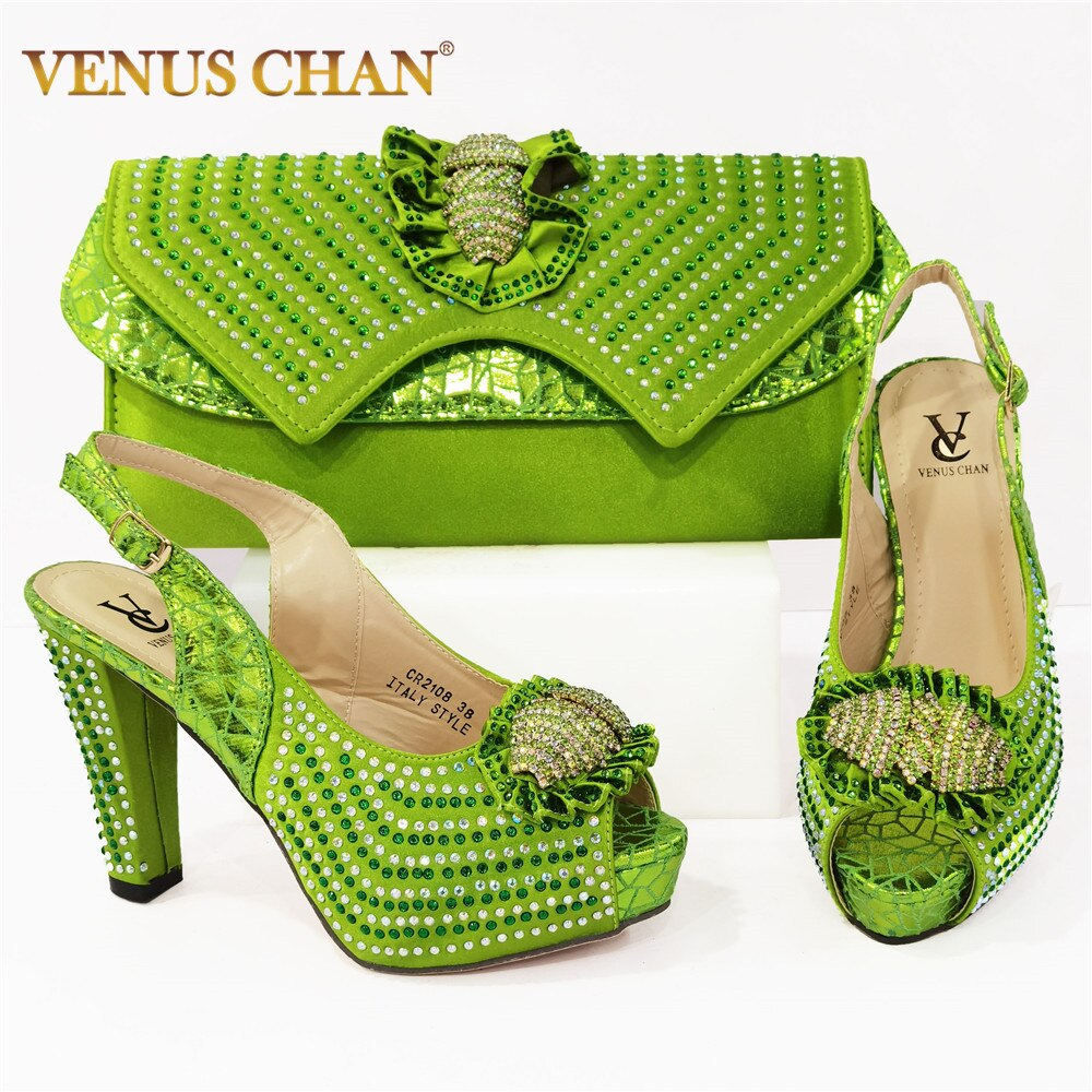 GreenColor الايطالية تصميم السيدات الأحذية مع أكياس مطابقة عالية الجودة الأفريقية حذاء وحقيبة مجموعة للحزب في النساء النيجيري الأحذية