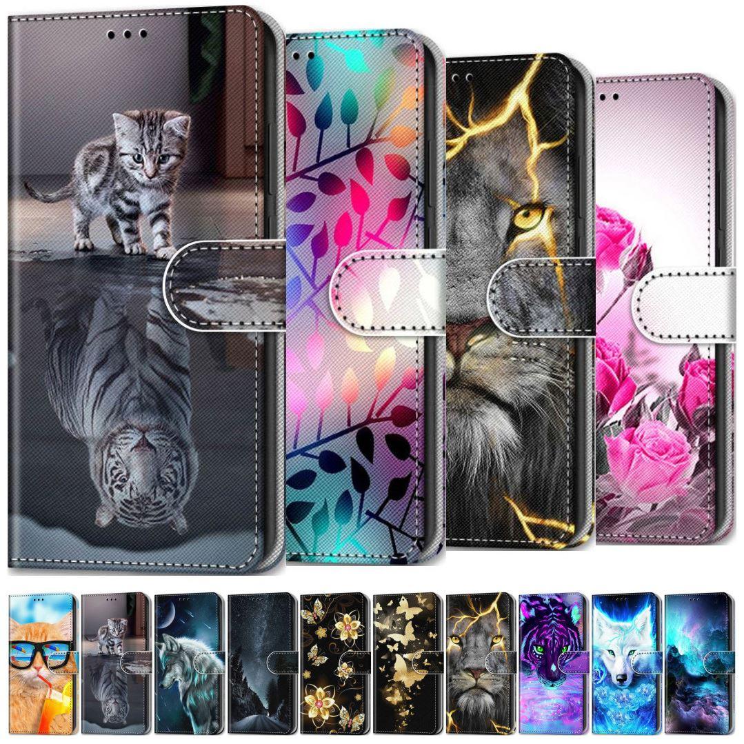 Floral Wolf Tiger Cat Kids Holster For Case Huawei P Smart 2019 P20 Lite 2018 P30 Lite P40 Lite Enjo