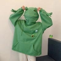women frog hooded sweatshirt big pocket decor zipper head pullover lady solid color long sleeve tops causal sweatshirt