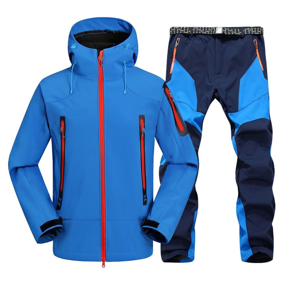 2pc Mens Wasserdicht Wandern anzüge Softshell Fleece Jacken und Hosen Outdoor Trekking Camp Mantel Set Hosen Klettern Skifahren Hosen