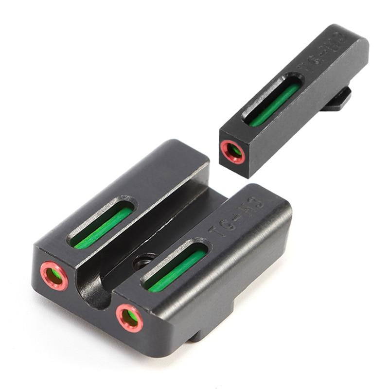 Mira de visión trasera Focus-lock para Glock Gear rojo auténtico verde fibra óptica frontal para Glock 17/17L /19/22/23/24/26/27/33/34/