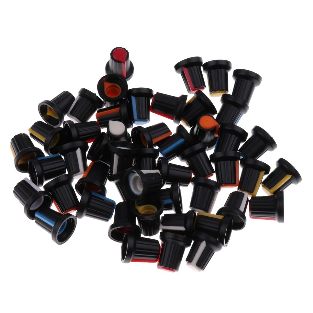 50 stücke 5 Farben Rotary Taper Control Potentiometer Knob Abdeckung Kappe