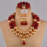 graceful wine african necklace simulated pearl beads jewelry set fzz42 04