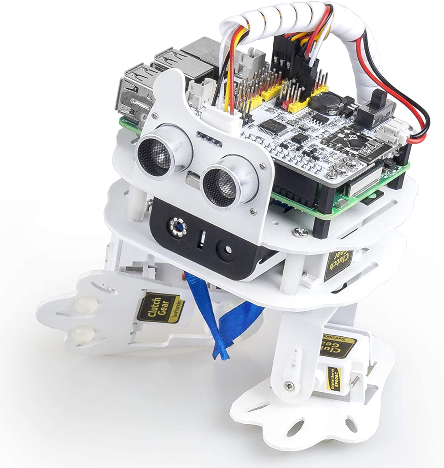 PiSloth AI Programmable Robot Kit for Raspberry Pi, Dancing, Obstacle Avoidance,Object Following, Sound Effect DIY Bionic Robot