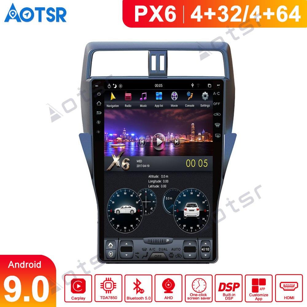 Para toyota land cruiser prado 150 2018 2019 carro multimídia player estéreo rádio de áudio android px6 tesla estilo gps nav unidade cabeça