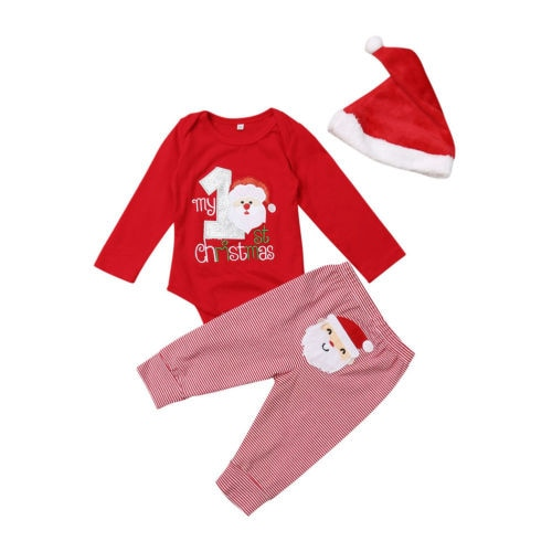 3pcs Set Christmas Red Baby Outfit My First Christmas Newborn Baby Girl Warm Romper + Pants + Santa Hat Clothes 0-12 Months