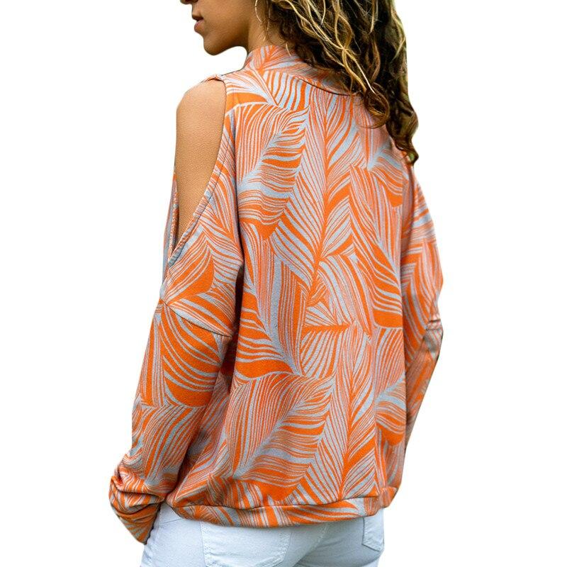 Con hombros descubiertos para mujer, Tops informales de punto de cuello alto, jersey con estampado de manga larga, Camiseta -CH1  - buy with discount