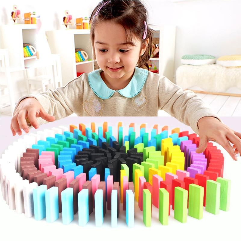 120 unids/set de juguetes de madera para niños, juego de dominó de 12 colores, bloques de construcción, juego interactivo, juguetes educativos de aprendizaje para bebés para niños
