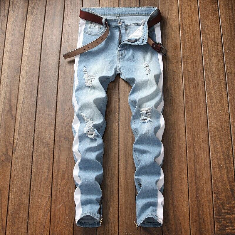 2018 мужские джинсы стрейч с боковыми полосками, байкерские джинсы из денима, рваные облегающие супероблегающие джинсы в стиле хип-хоп