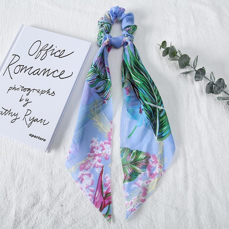 Sweet Flowers Scrunchies Elastic Hair Rope Women Girls Hair Accessories Sweet Floral Colorful Ribbon Hair Scarf Headband