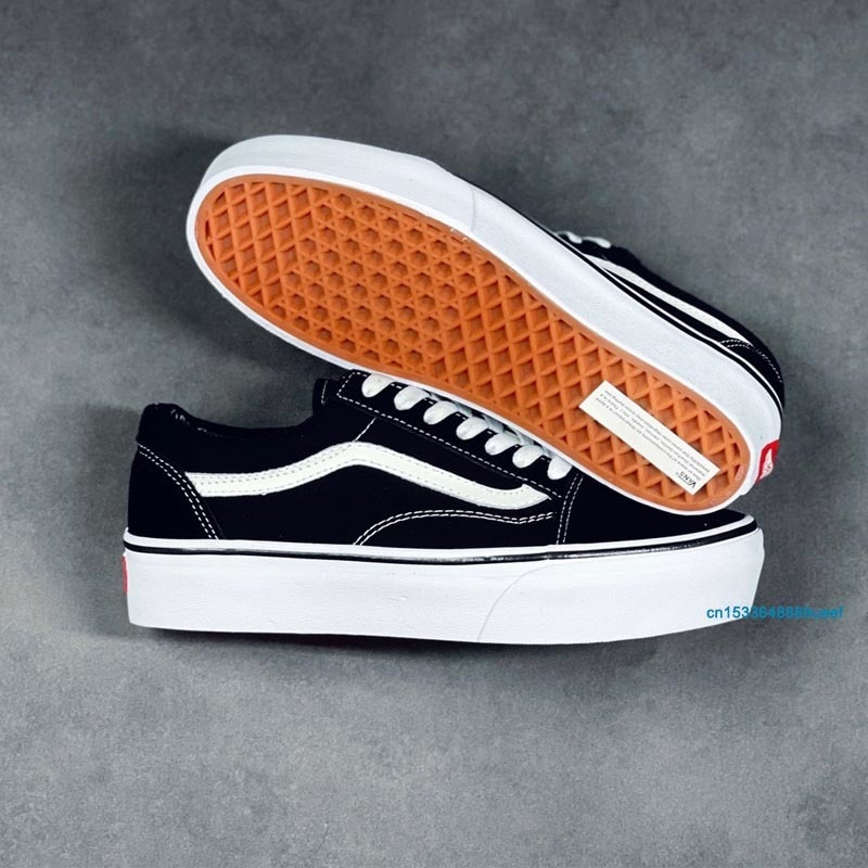 Classics Vans Family Men and Women Old Skool Platform Thick Bottom Skateboarding Shoes Unisex Height Increase Canvas Sneakers