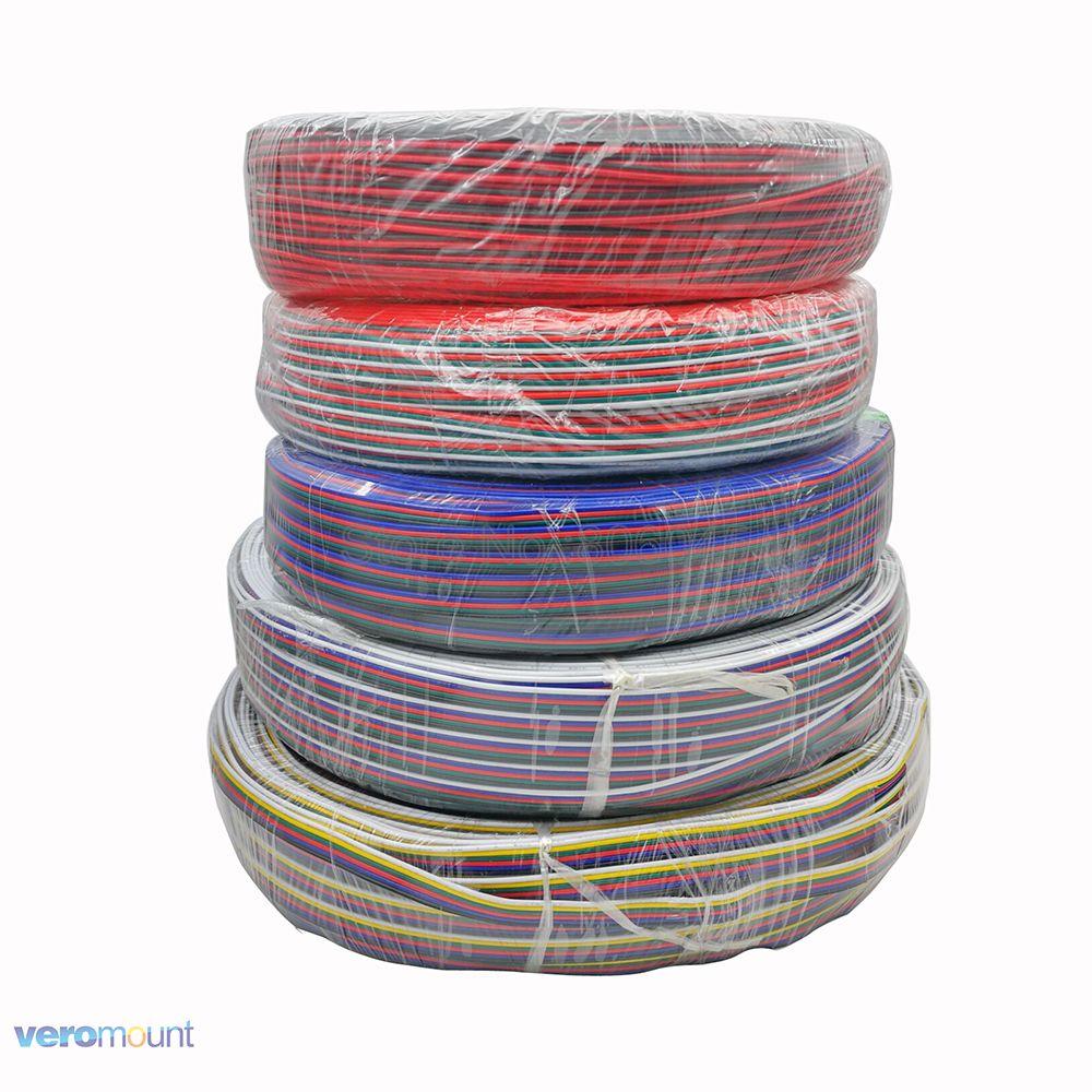 10 m/lote 2pin 3pin 4pin 5Pin 6pin 22AWG extensión Cable eléctrico Cable conector LED para 5050 RGBW RGB CCT luces LED stirp de un solo Color
