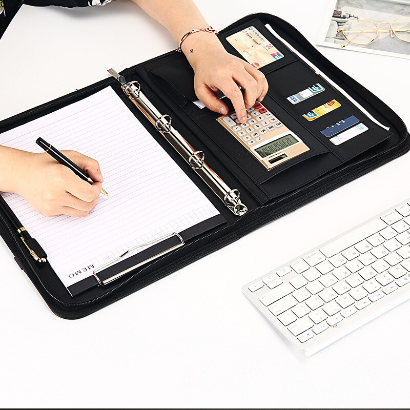 Multifunctional A4 Briefcase Portable Business Folder Calculator Memo Organize Bag Documents Office Worker Documents Pouch Item