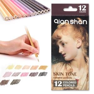 12 Colors Professional Artist Drawing Pencil Set Skin Crayon De Couleur Lapices Colores Colored Portrait Pastel Pencils Dessin