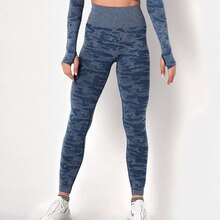 Seamless high waist stretch sports yoga pants women sexy hip-lifting camouflage bottoming cropped pants