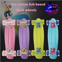 aluminum bracket mini cruiser skateboard children kid fish board pu flash wheels scooter celebrities night street fishboard 22in